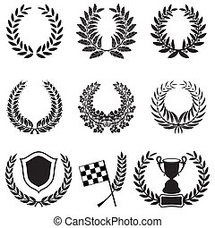 Set of Laurel Wreaths with Cup, Checkered Flag and Shield,...