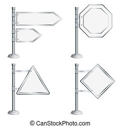 Set Poles with Traffic Signs