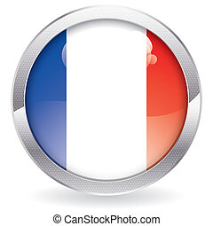 Gloss Button with French Flag - Three Dimensional circle...