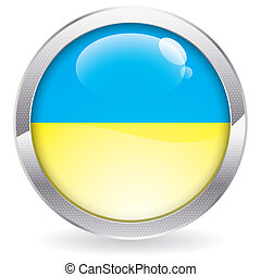 Gloss Button with Ukraine Flag