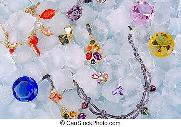 Jewels at ice - Jewels at blue cube of ice background