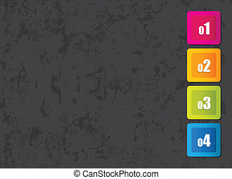 grunge background with colorful numbered squares
