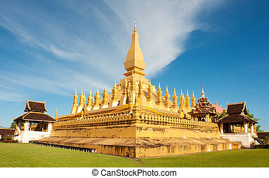 Pha That Luang monument, Vientiane, Laos. - Pha That Luang...