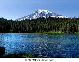 Mt. Rainier - Mount Rainier peak and lake in the Mt. Rainier...