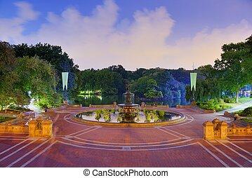 central, parque, fuente