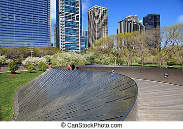 Graceful pedestrian bridge in downtown Chicago