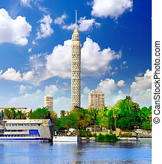 Cairo TV Tower Egypt - Cairo TV Tower on seafront of Nile...