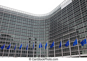European Parliament Brussels, Belgium - European flags in...