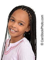 closeup, jovem, africano, femininas, criança