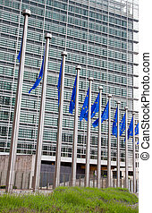 European Parliament. Brussels, Belgium - European flags in...
