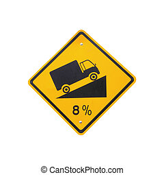 Steep grade hill traffic sign on white background