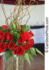 Red roses centerpiece - Red wedding rose centrepiece