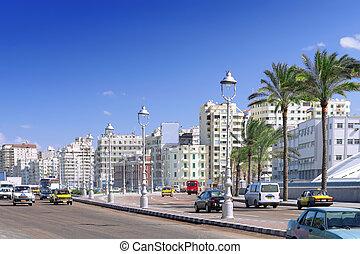 Alexandria, cidade, urbano, vista, Egito