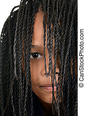 young black girl with Cornrows - portrait young black girl...