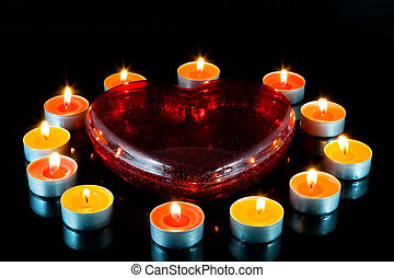 Heart , surrounded small candles. - Heart, surrounded small...