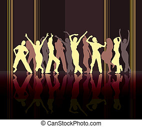 Beige dancing silhouettes