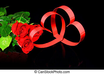 St. Valentine Day. Two hearts, red roses. - St. Valentine...