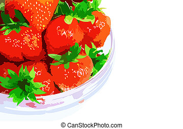A heap of fresh strawberries in glass bowl Vector