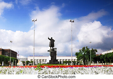 Finland Railways station and statue of Lenin,Saint...