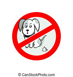 No dogs pooh sign - No dogs pooh sign isolated over white...