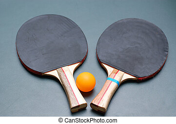 Ping Pong Paddles and Ball. Close-up