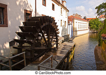 Old water-mill and water wheel - River Vltava Old water-mill...