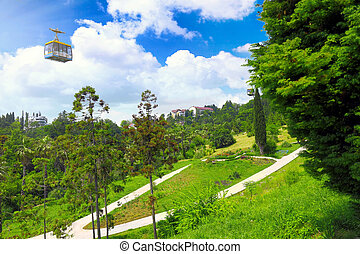 Funicular in tropical park Arboretum , Sochi city -...