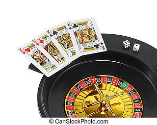 vuelta, casino, ruleta, dados, juego, tarjetas, aislado