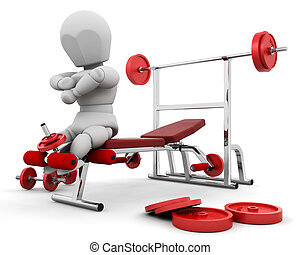 Keeping fit - 3D render of someone using gym equipment