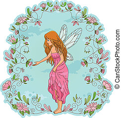 flower fairy - fairy standing in a frame of flowers