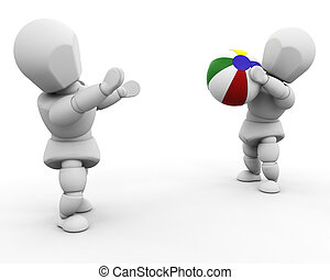 Playing with beach ball - 3D render of people playing with a...