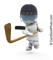 Ice-hockey player - 3D render of someone playing ice-hockey