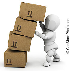 Person holding up boxes - 3D render of someone holding up a...