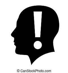 Human head with exclamation mark symbol on white