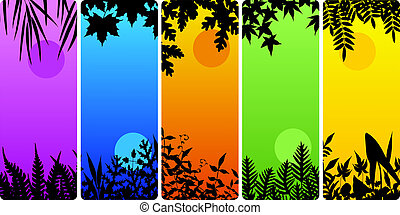 Leafy bookmarks - Set of vertical banners of plants