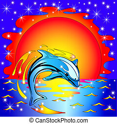 jump dolphin before sunset on by sea - illustration jump...