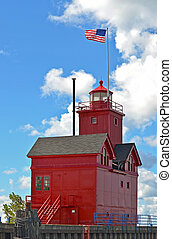 Lake Michigan red lighthouse - Bright red lighthouse on Lake...