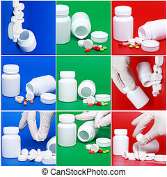 Collage of medicine- pills,bottle, syringe.