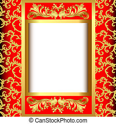 gold(en) background with band of the vegetable pattern