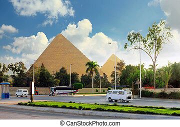 Great Pyramids ,suburb of Cairo city. Egypt. - Ancient Great...