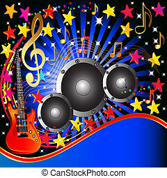 music background with guitar speaker and stars