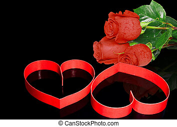 St Valentine Day Two hearts, red roses - St Valentine Day...
