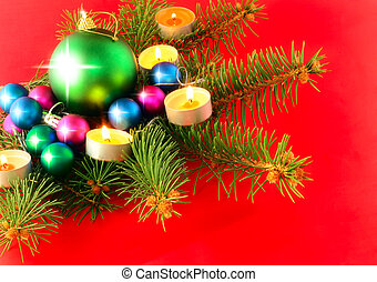 New Year decoration-balls, fir branches ,andels - Christmas...