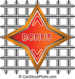 Abstract bonus icon - Unique plate a bonus on a white...