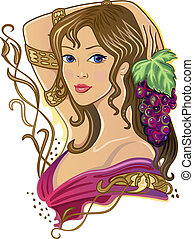 Girl with a bunch of grapes - The Snake Girl with grapes...