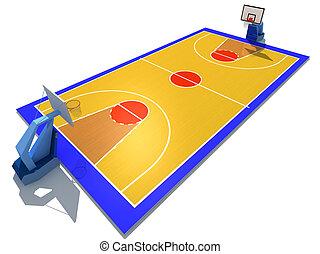 Basketball court - 3D rendered illustration of basketball...
