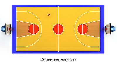 Basketball court - 3D rendered illustration of basketball...