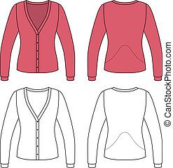 Blank woman jacket - Template outline illustration of a...