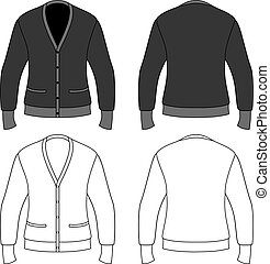 Blank cardigan - Template outline illustration of a blank...