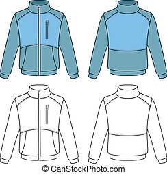 Outline sports jacket vector illustration isolated on white...